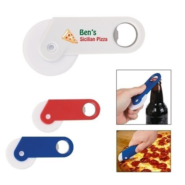 Promotional Pizza Cutter With Bottle Opener