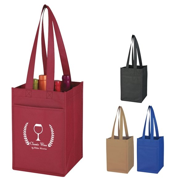 Promotional Non - Woven 4 Bottle Wine Tote Bag