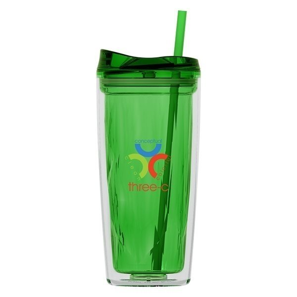 Promotional Geo 16 oz Double Wall Acrylic Tumbler - Apple