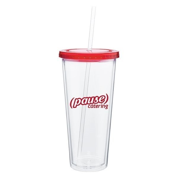 Promotional 20 oz Spirit Tumbler With Color Lid - Red