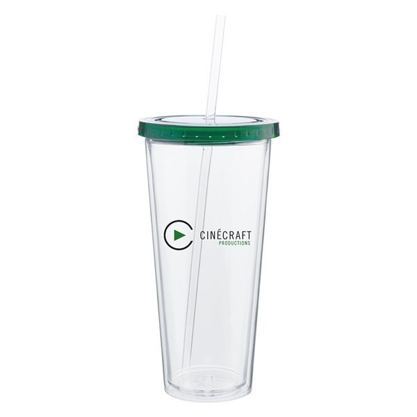 Promotional 20 oz Spirit Tumbler With Color Lid - Green