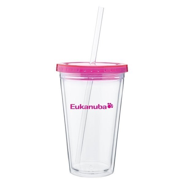 Promotional 16 oz Spirit Tumbler With Color Lid - Fuchsia