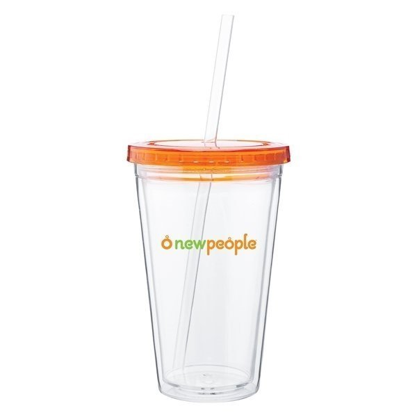 Promotional 16 oz Spirit Tumbler With Color Lid - Tangerine