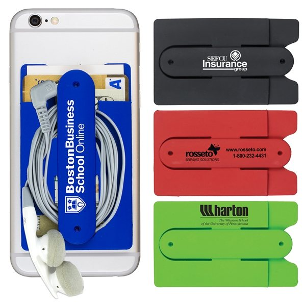 Promotional Kickstart Two Function Soft Silicone Cell Phone Kickstand Wallet