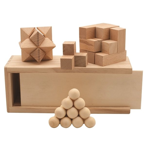 Promotional 3- in -1 Wooden Puzzle Boxed Set