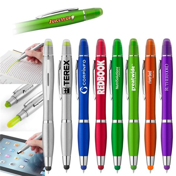 Promotional Curvaceous Metallic Stylus Highlighter Pen