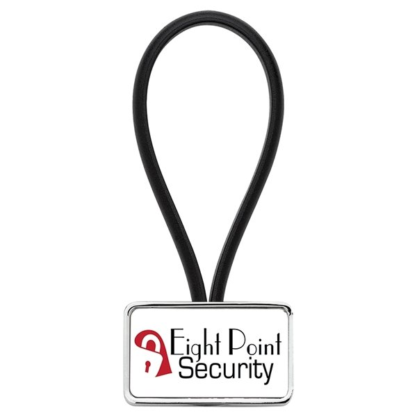 Promotional Chrome Keyring with Rubber Loop