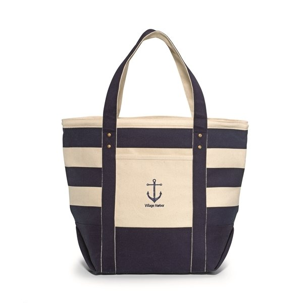 Promotional Seaside Zippered Cotton Tote - Navy Blue Striped