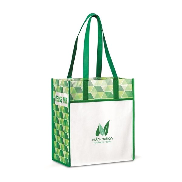 Promotional Horizons Laminated Shopper - Kelly Green / Pattern