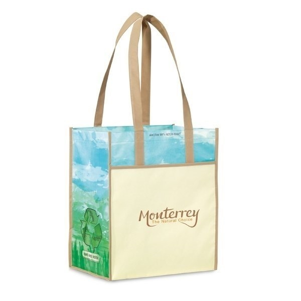 Promotional Vita Laminated Recycled Shopper - Tan / Pattern