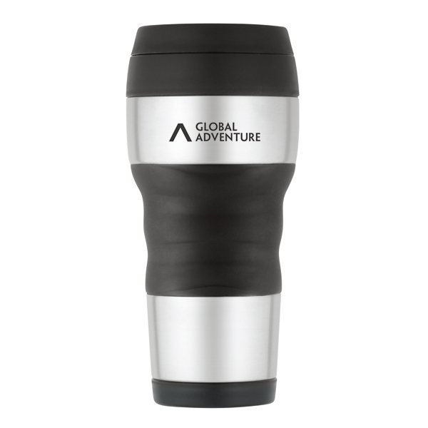Promotional ThermoCafe(TM) by Thermos(R) Travel Tumbler with Grip - 16 oz - Stainless Steel