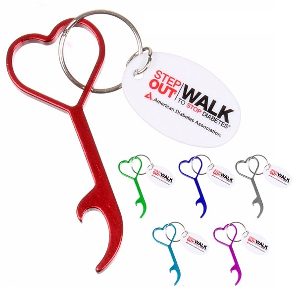 Promotional Heart - Shaped Bottle Opener Keychain