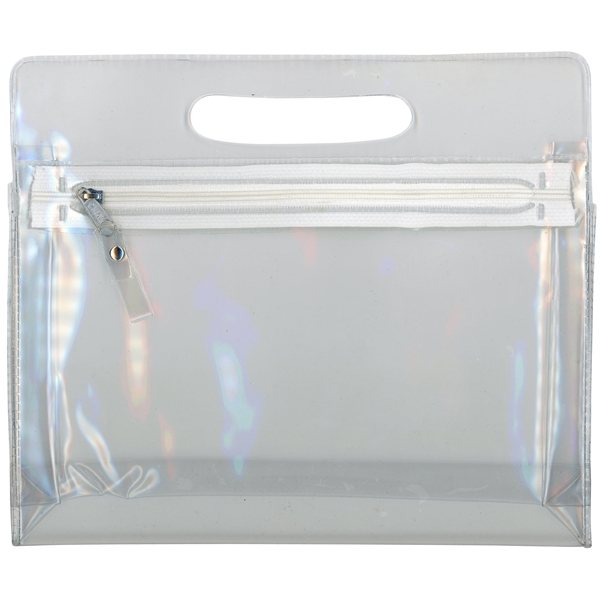 Promotional Translucent Airline Pouch / Cosmetic Case with handle and zipper closure
