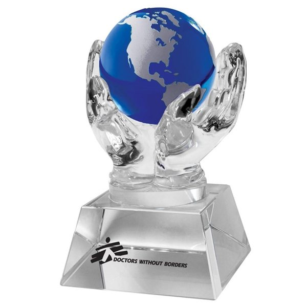 Promotional Crystal Hands Holding Globe (Blue)