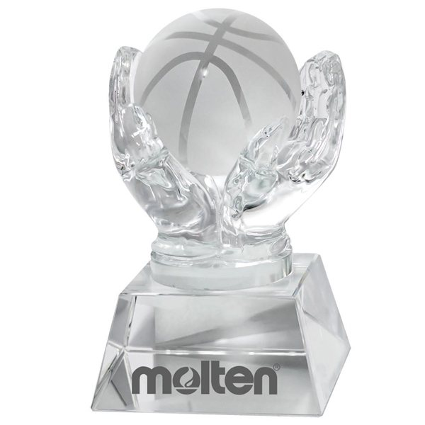 Promotional Crystal Hands Holding Basketball