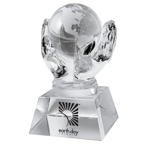 Promotional Crystal Hands Holding Globe (Clear)