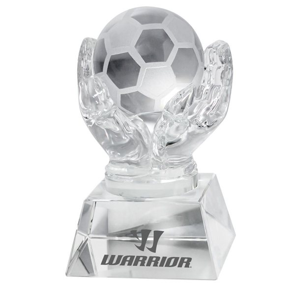 Promotional Crystal Hands Holding Soccer Ball