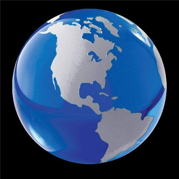 Promotional Crystal Globe Paperweight (Blue)