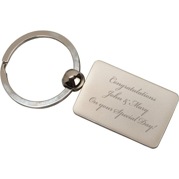 Promotional Silver Metal Rectangl Key Tag