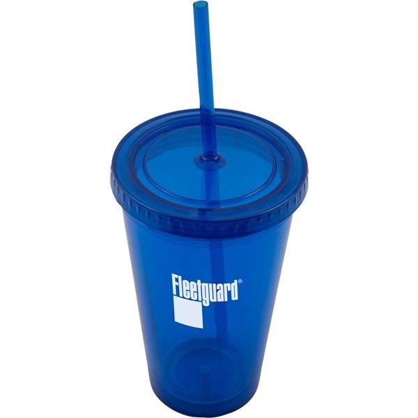 Promotional (16 oz) Plastic Tumbler With Straw
