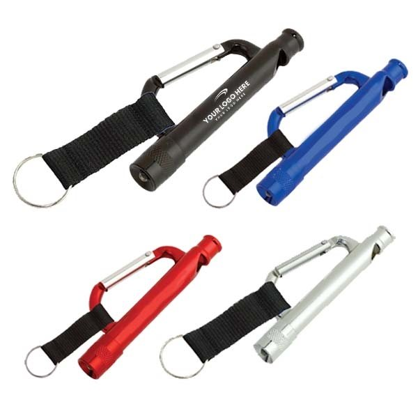 Promotional Carabiner Flashlight / Whistle With Strap