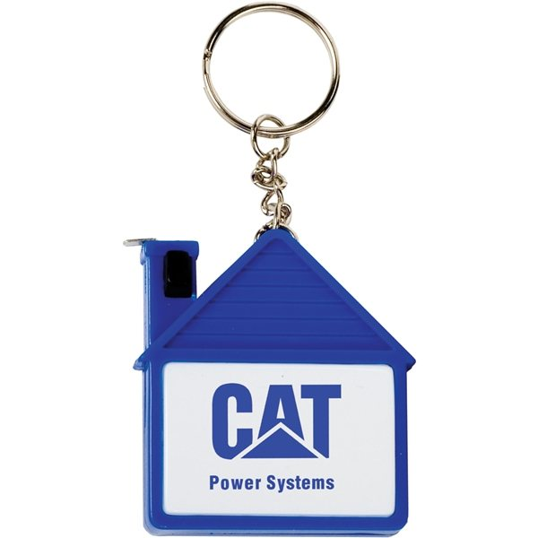 Promotional House Tape Measure With Release Button And Key Tag