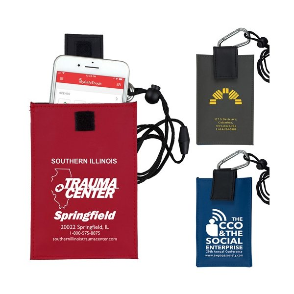 Promotional Cell Phone ID Holder Wallet with Carabiner and Breakaway Safety Lanyard