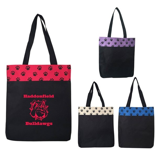 Promotional 600 Polyester Paw Print Tote Bag