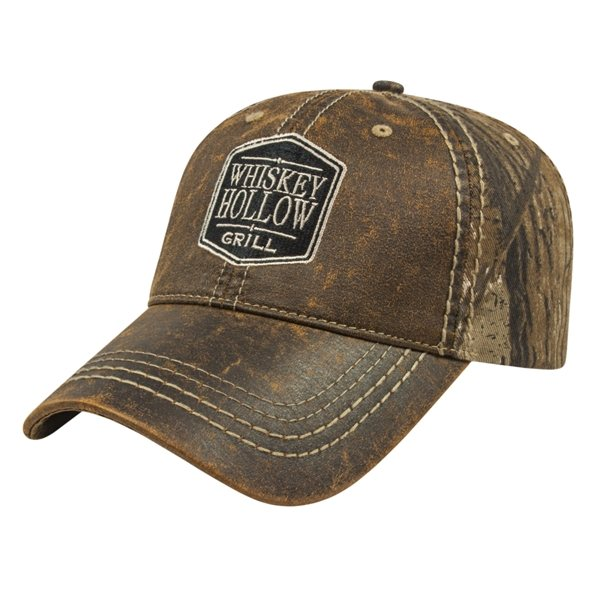 Promotional Faux Leathered Poly / Cotton Camo Cap