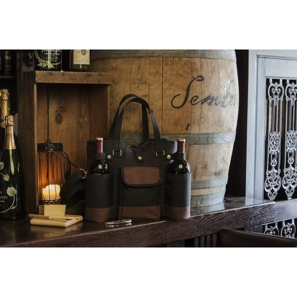 Promotional 20 x 14.5 x 4.5 Wine Country Polyester with Faux Suede Accents Tote