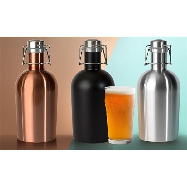 Promotional 64 oz /1.9 L Stainless Steel Growler 2 Go