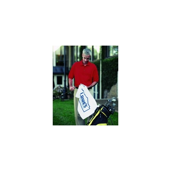 Promotional Turkish Signature Midweight White Golf Towel 16 x 24