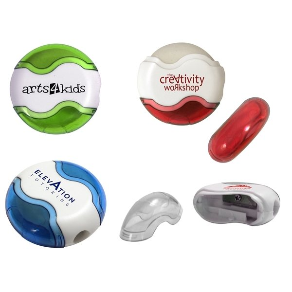Promotional Round Pencil Sharpener Eraser Combo
