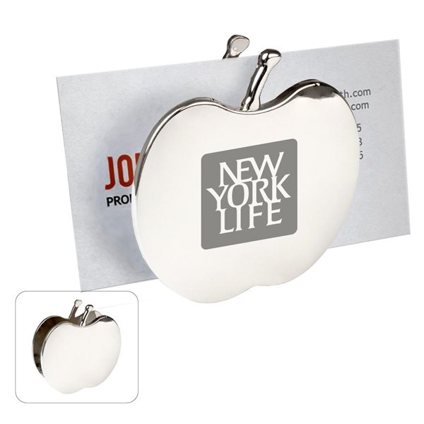 Promotional Chrome Metal Apple Memo / Card Holder