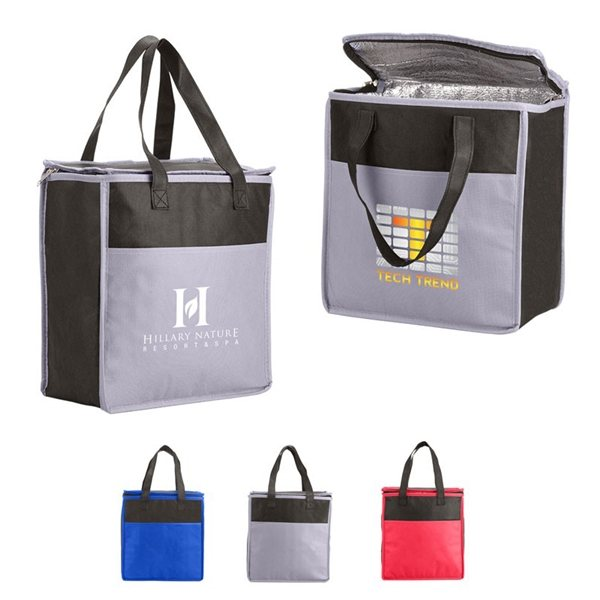 Promotional Two - Tone Flat Top Insulated Nonwoven Grocery Tote