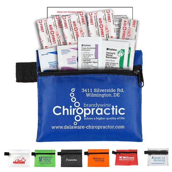 Promotional 10 Piece Hand Sanitizer First Aid Kit in Zipper Pouch