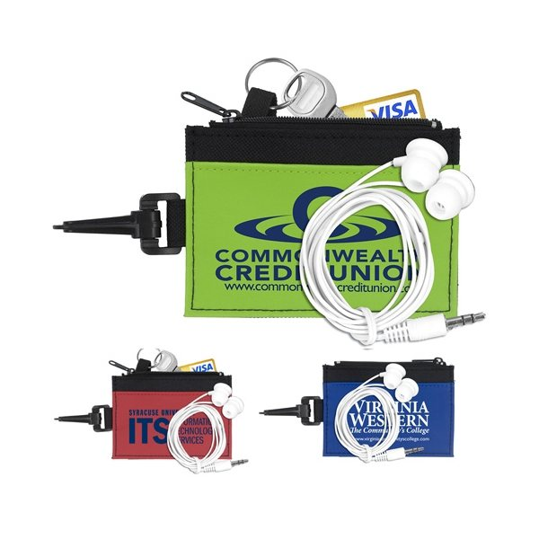 Promotional Mobile Tech Earbud Kit in Travel ID Wallet Components inserted into Zipper Pouch ID Wallet