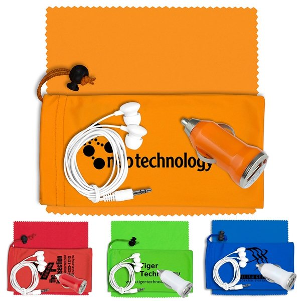 Promotional Mobile Tech Auto Accessory Kit in Microfiber Cinch Pouch