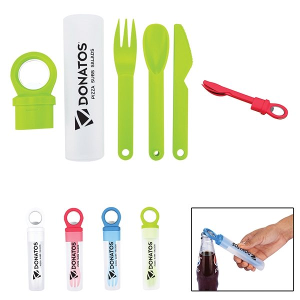 Promotional Plastic Utensil Set w / Bottle Opener