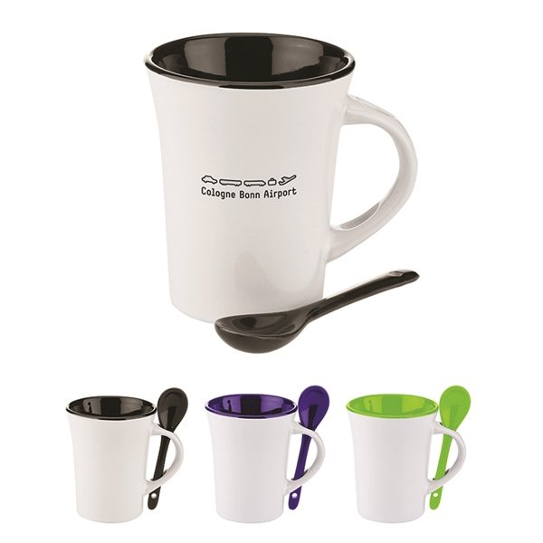 Promotional 10 oz Two - Tone Ceramic Mug with Matching Spoon