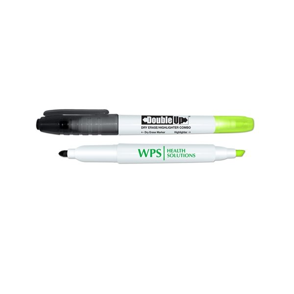Promotional Double Up Dry Erase Marker Highlighter Combo