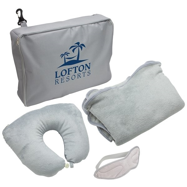 Promotional 3- Piece Travel Set Pillow, Blanket Eye Mask Set