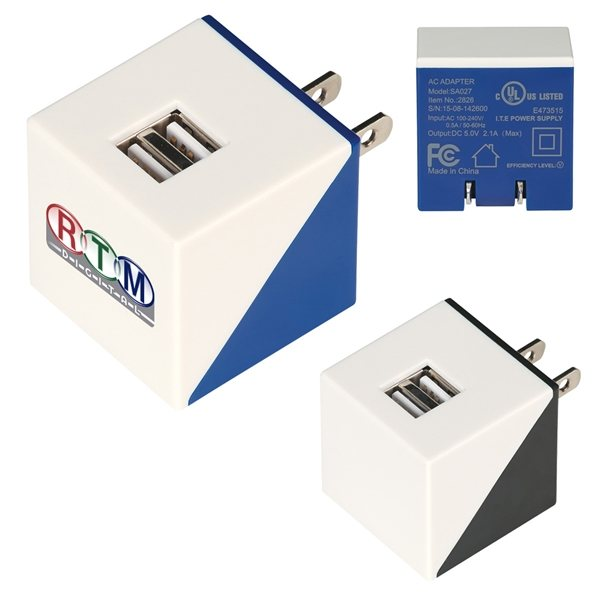 Promotional UL Listed Diagonal Dual Port Adapter