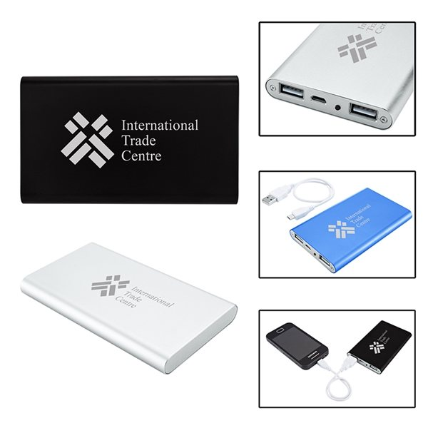 Promotional Slim Duo USB Aluminum Power Bank Charger - UL Certified