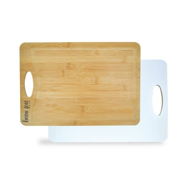 Promotional Best of Both Worlds Bamboo Plastic Cutting Board