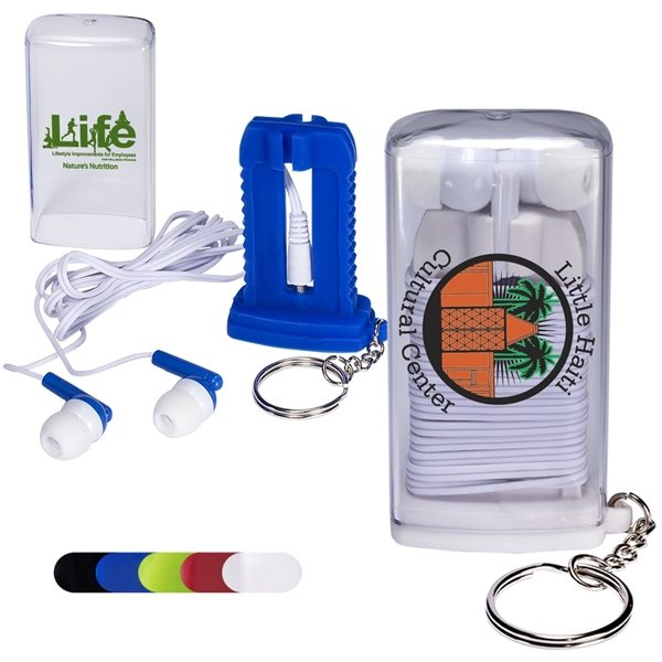 Promotional Earbuds in Case with Key Ring