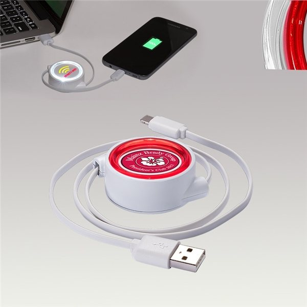 Promotional LED Micro USB Retractable Cord
