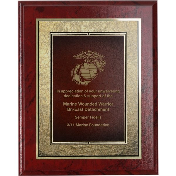 Promotional Wood Plaque - Ruby Marbel Finish and Gold Plate