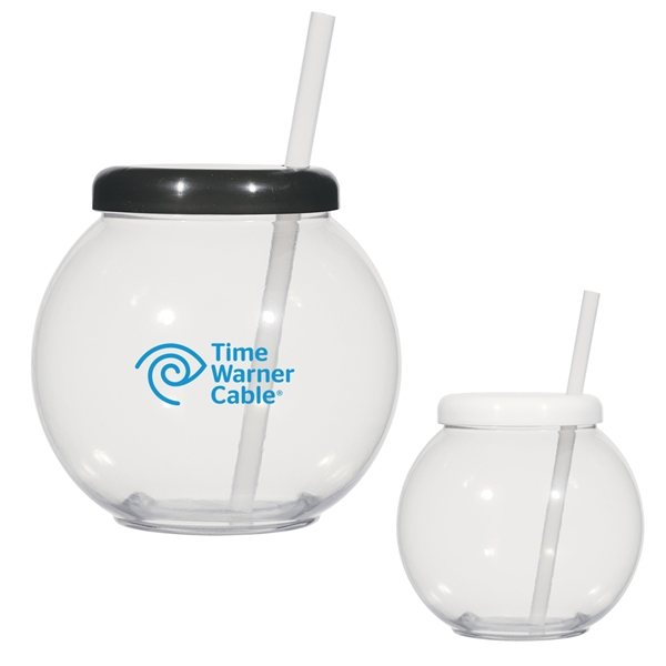 Promotional 46 oz Fish Bowl Cup With Straw