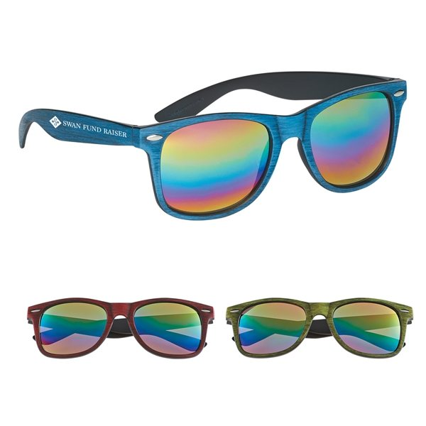 Promotional Woodtone Mirrored Malibu Sunglasses